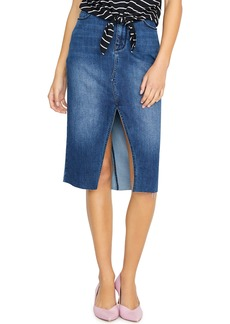 Sanctuary Moselle Raw Edge Denim Midi Skirt (Elsnor Blue)