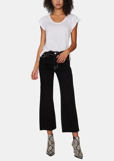 Sanctuary Non Conformist Contrast-Stitched Wide-Leg Cropped Jeans
