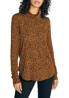 Sanctuary On A Roll Leopard Print Cotton Blend Turtleneck Top (Regular & Petite)