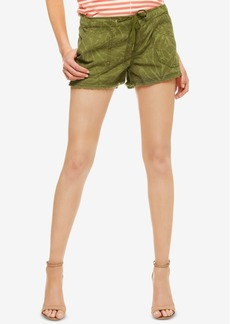 Sanctuary Palm Leaf-Print Chambray Cutoff Shorts