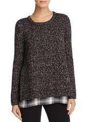Sanctuary Plaid Hem Textured Sweater