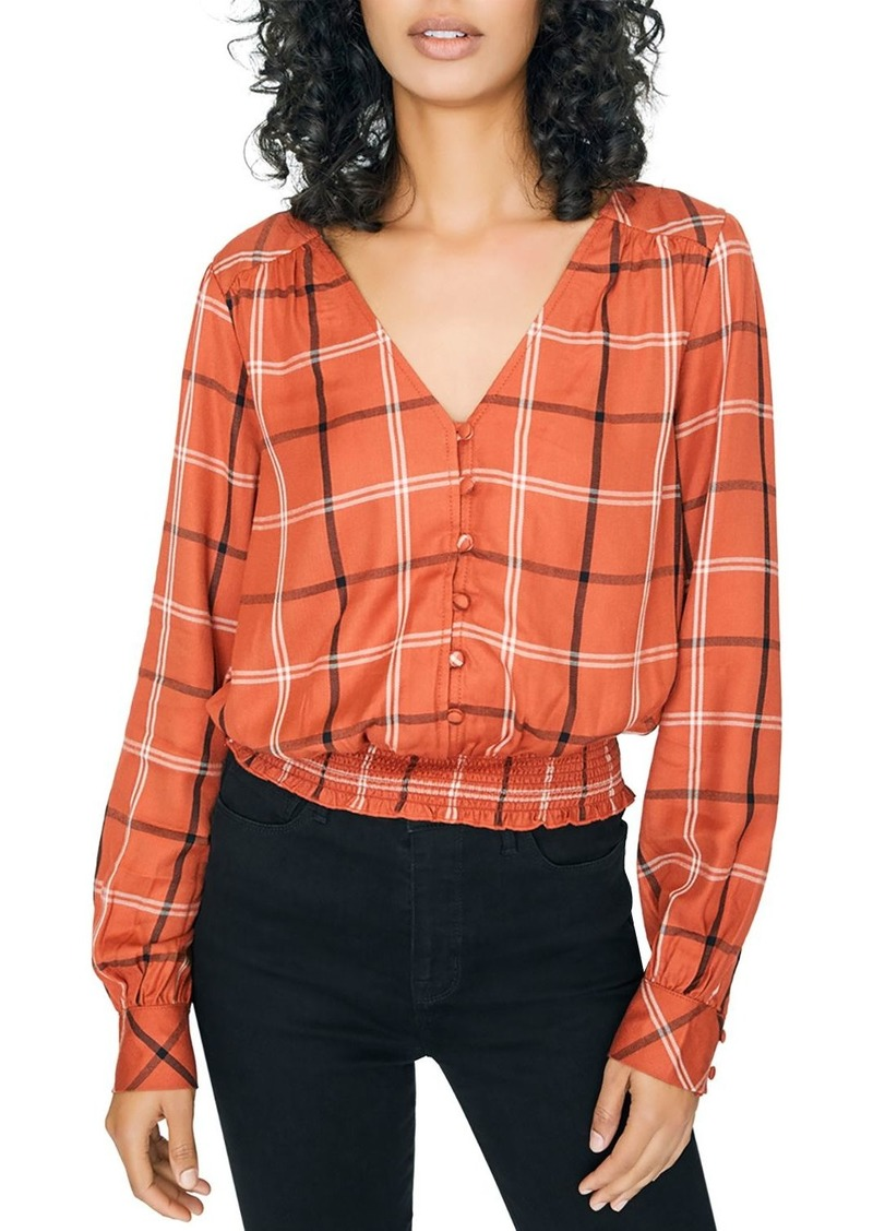 Sanctuary Plaid Smocked-Hem Top