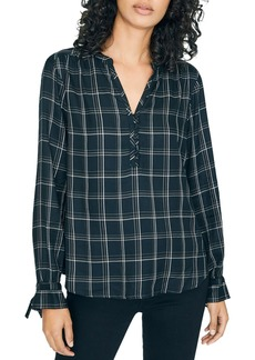 Sanctuary Plaid Tie-Sleeve Top