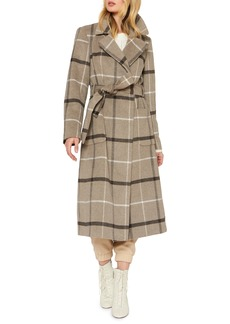 Sanctuary Plaid Wool Blend Wrap Coat