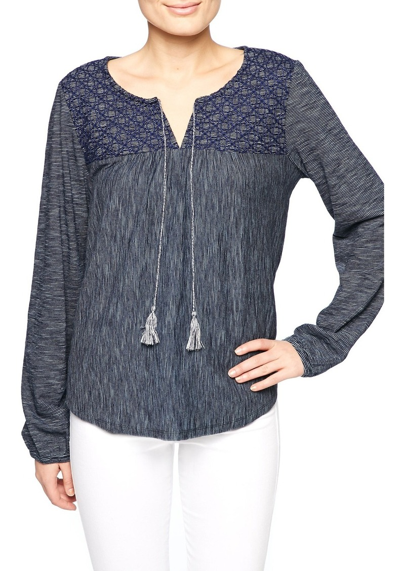 Sanctuary Poetta Embroidered Knit Peasant Top
