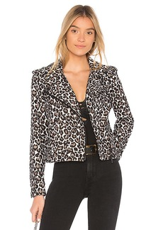 Sanctuary Poison & Leopard Moto Jacket in Brown. - size XS (also in L,M,S)