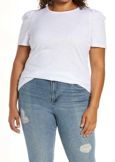 Sanctuary Puff Sleeve Cotton Blend Top (Plus Size)