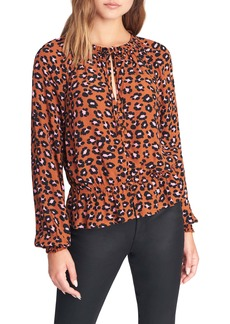 Sanctuary Quartz Animal Print Peplum Blouse (Regular & Petite)