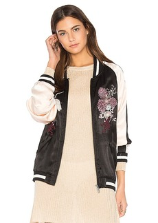 Sanctuary Relaxed Sakura Blossom Bomber in Black. - size M (also in S,XS)