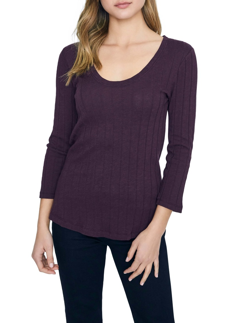Sanctuary Ruby Ribbed Long Sleeve Cotton Blend Tee (Regular & Petite)