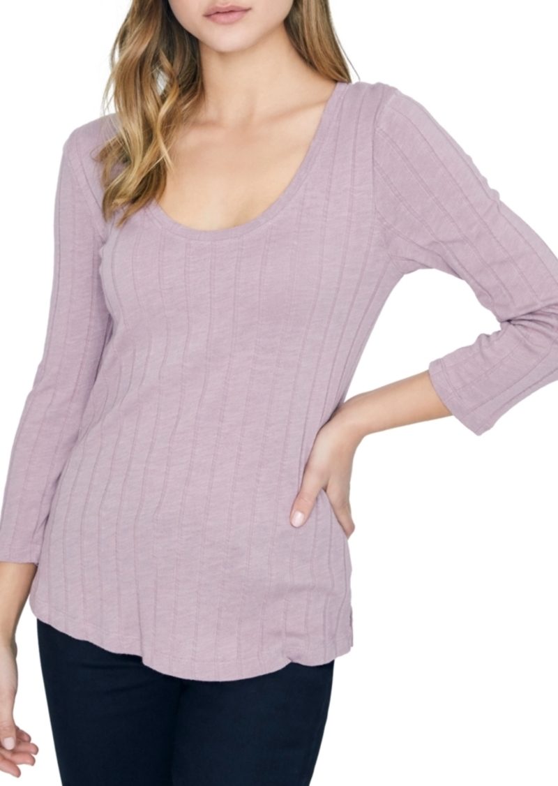 Sanctuary Ruby Scoop Ribbed 3/4 Sleeve Top