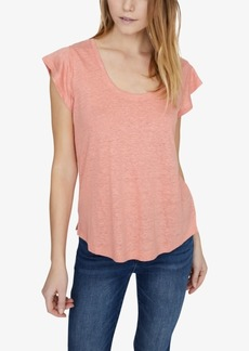Sanctuary Ruby Solid Scoop-Neck Linen T-Shirt