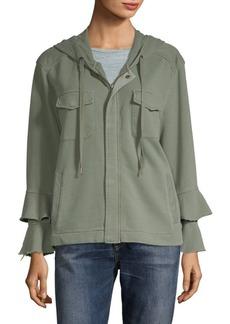 Sanctuary Ruffle Hooded Zip Sweatshirt