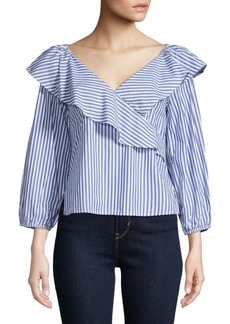 Sanctuary Ruffle Stripe Surplice Top