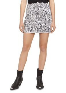 Sanctuary Ryan Snakeskin-Print Denim Mini Skirt