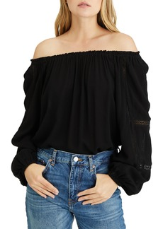 Sanctuary Say So Lace Inset Convertible Off the Shoulder Blouse
