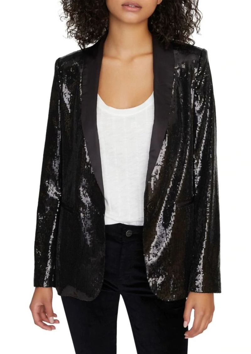 Sanctuary Sequin-Embellished Shawl Collar Jacket