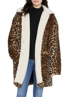 Sanctuary Sierra Print Faux Fur Coat with Fleece Lining