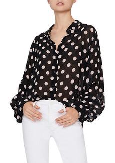 Sanctuary Slone Blouson Sleeve Polka Dot Blouse (Regular & Petite)