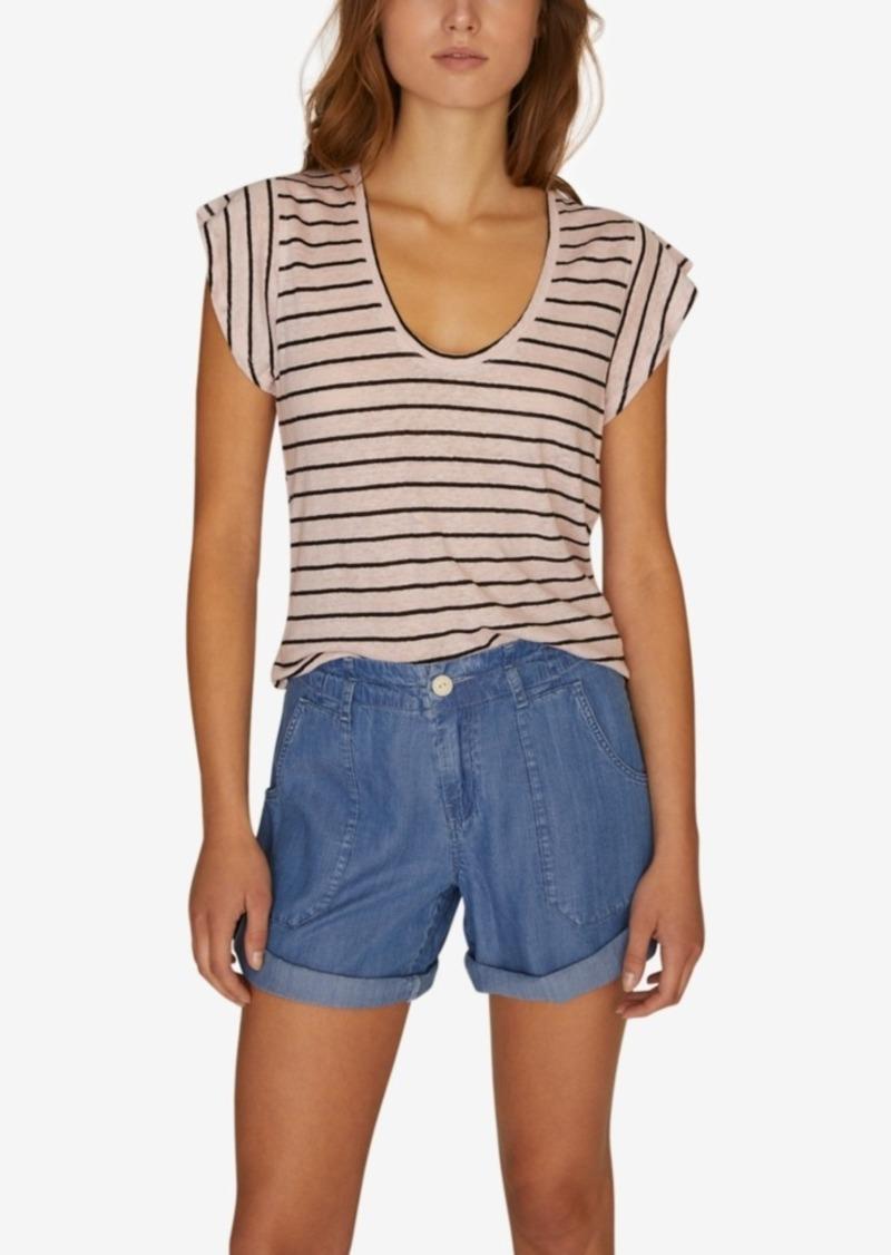 Sanctuary Ruby Striped Scoop-Neck Linen T-Shirt