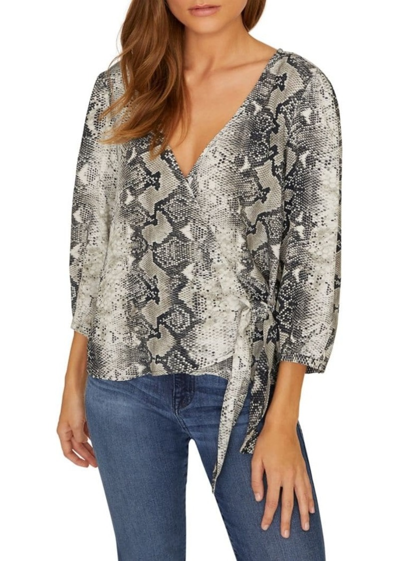 Sanctuary Snake-Print Wrap Top