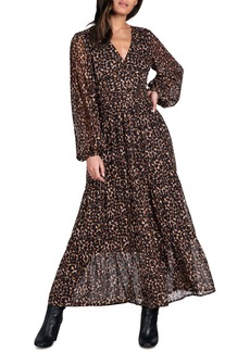 Sanctuary So Long Leopard Print Metallic Dot Maxi Dress