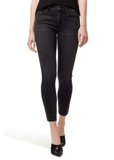 Sanctuary Social Standard Leopard Tuxedo Stripe Crop Skinny Jeans (Art School Grey)