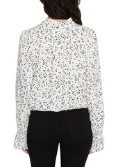 Sanctuary Solstice Confetti Dot Print Mock Neck Blouse