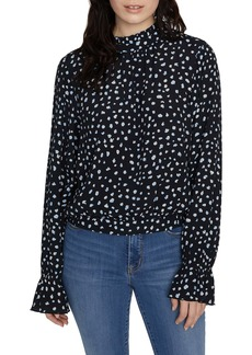 Sanctuary Solstice Party Pop Print Mock Neck Blouse (Regular & Petite)