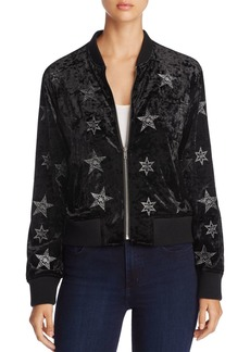 Sanctuary Stargazer Embroidered Crushed Velvet Bomber Jacket - 100% Exclusive