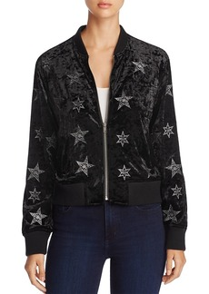Sanctuary Stargazer Embroidered Crushed Velvet Bomber Jacket - 100% Exclusive
