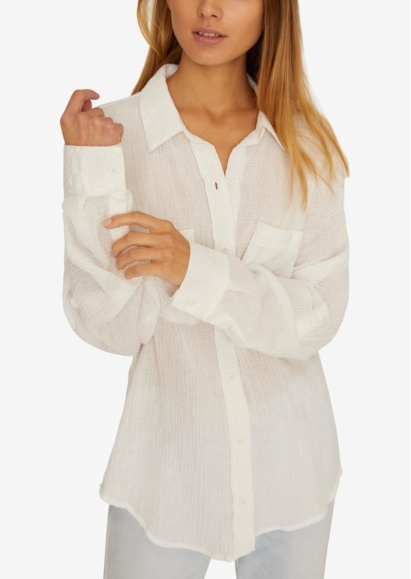Sanctuary Steady Boyfriend Solid Cotton Shirt