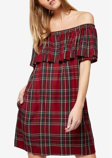 Sanctuary Stella Off-The-Shoulder Plaid Dress