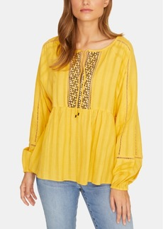 Sanctuary Summer Cotton Embroidered Peasant Top
