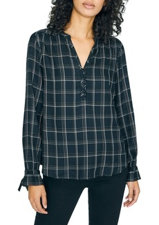 Sanctuary Sun Up to Sun Down Plaid Long Tie Sleeve Top (Regular & Petite)