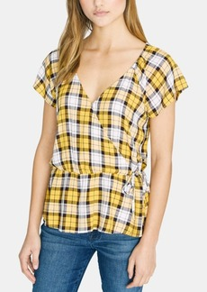 Sanctuary Sunstone Faux Wrap Plaid Top