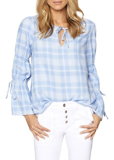Sanctuary Tie Neck Plaid Top