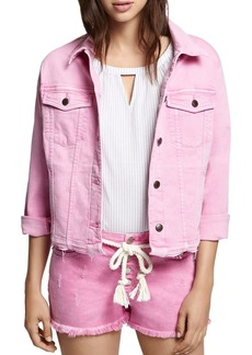 Sanctuary Wild Cherry Distressed Denim Jacket