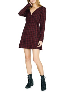 Sanctuary Sancturay Upbeat Plaid Long Sleeve Wrap Dress