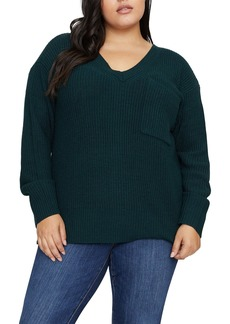Sanctuary Shaker V-Neck Pocket Sweater (Plus Size)