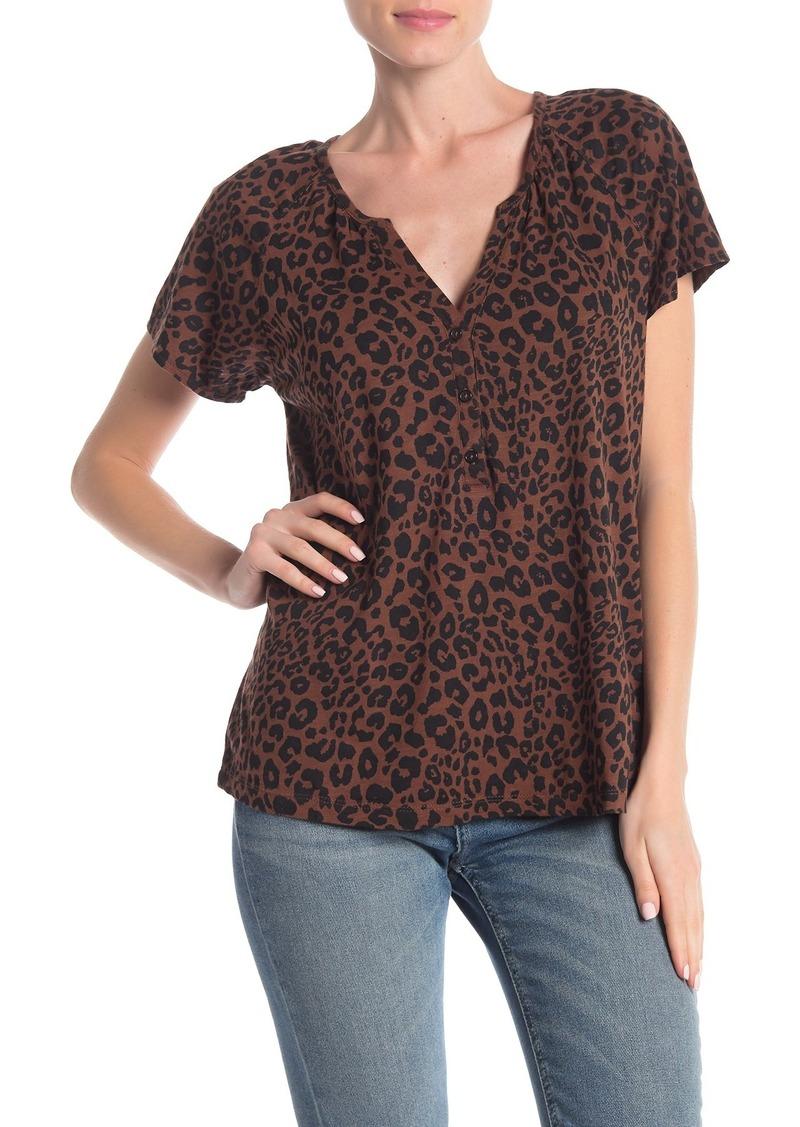 Sanctuary Short Sleeve Button Leopard Print Henley