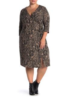 Sanctuary Snakeskin 3/4 Sleeve Faux Wrap Knit Dress (Plus Size)