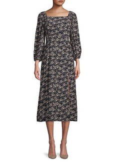 Sanctuary ​Squareneck Moody Floral-Print Midi Dress
