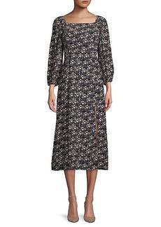 Sanctuary Squareneck Moody Floral-Print Midi Dress