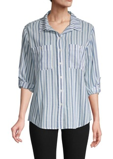 Sanctuary Striped Cotton Button-Front Top