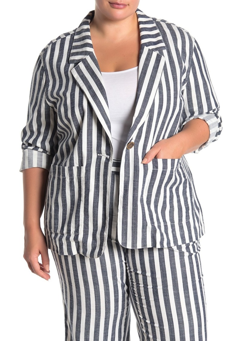 Sunrise Striped Soft Blazer (Plus Size)