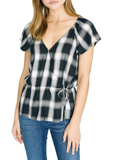 Sanctuary Sunstone Plaid Faux Wrap Blouse (Regular & Petite)