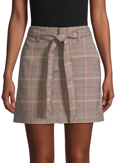 Sanctuary Tie-Front Plaid Mini Skirt