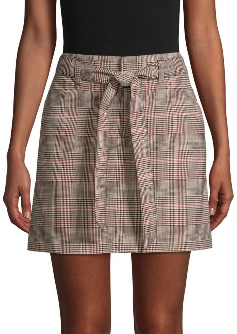 Sanctuary Tie-Front Plaid Mini Skirt