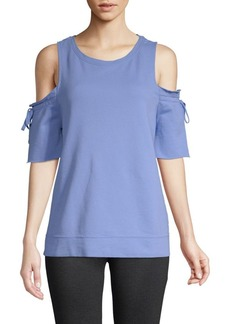 Sanctuary Tie-Sleeve Cotton Cold-Shoulder Top